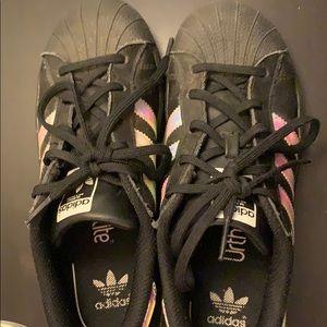 Black holographic Adidas Superstars
